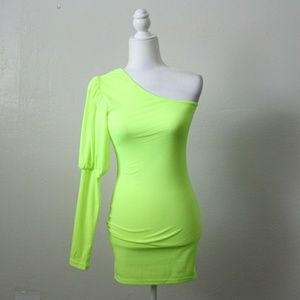 Dresses & Skirts - Neon Green One Shoulder Dress